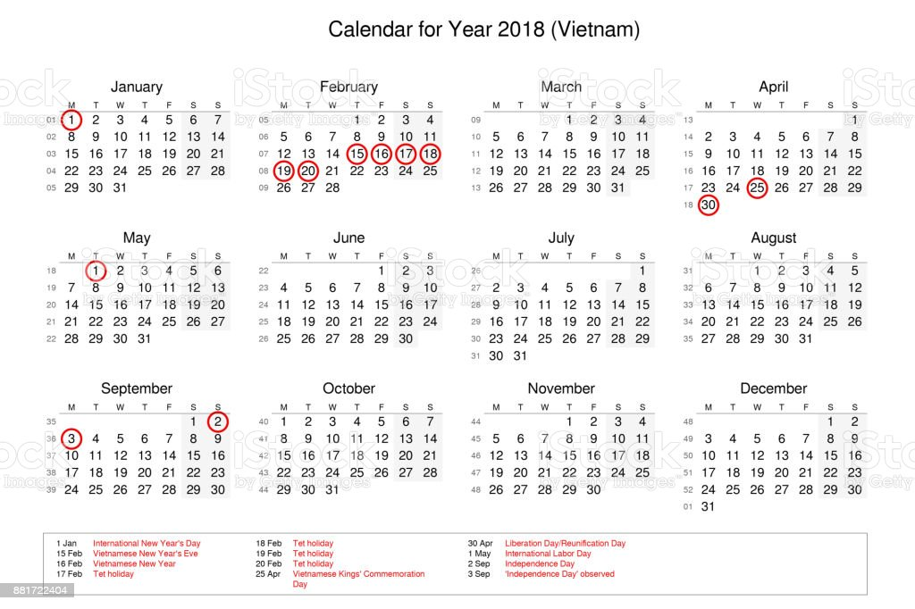calendar of year 2018 with public holidays and bank holidays for vietnam royalty free stock