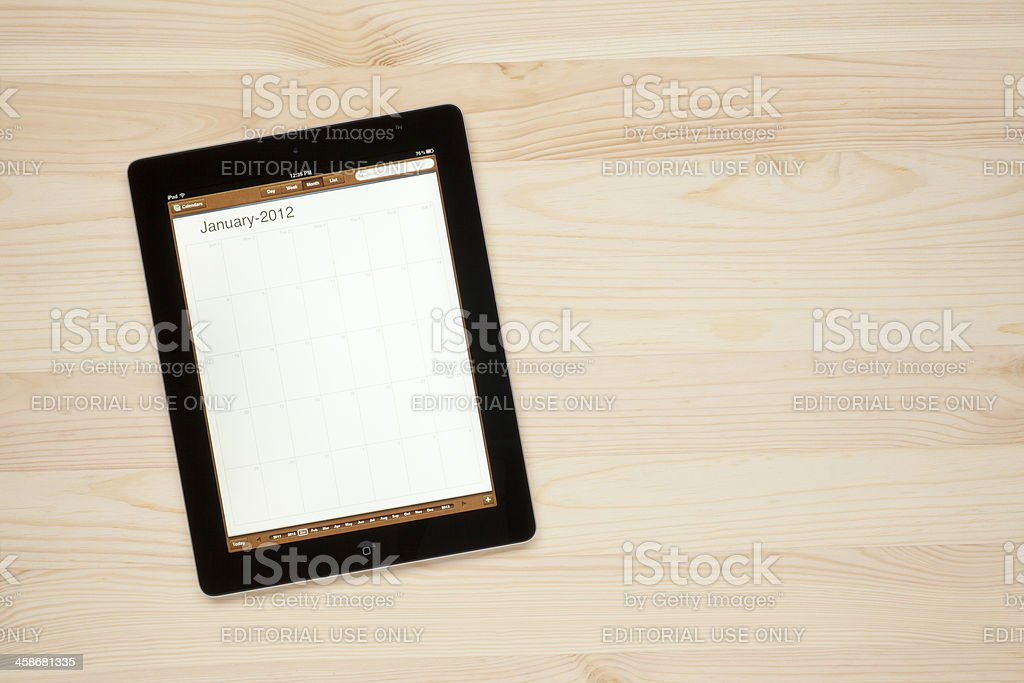 Calendar on Apple iPad royalty-free stock photo