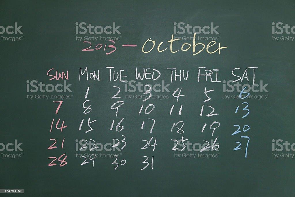 calendar on blackboard royalty-free stock photo