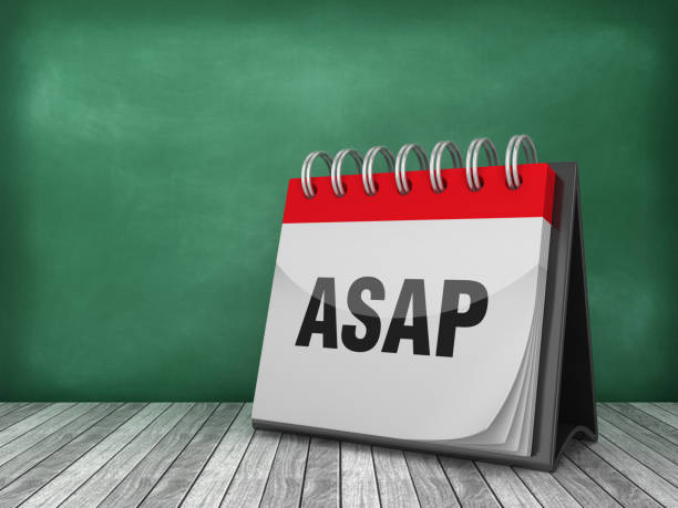 ASAP Calendar on Chalkboard Background - 3D Rendering ASAP Calendar on Chalkboard Background - 3D Rendering ASAP stock pictures, royalty-free photos & images