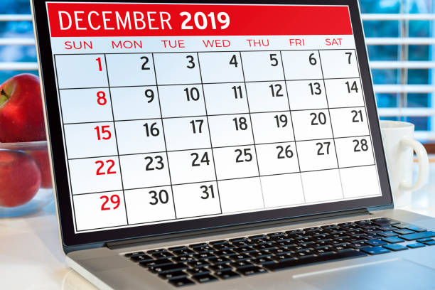 Calendar on computer screen Calendar on computer screen december stock pictures, royalty-free photos & images