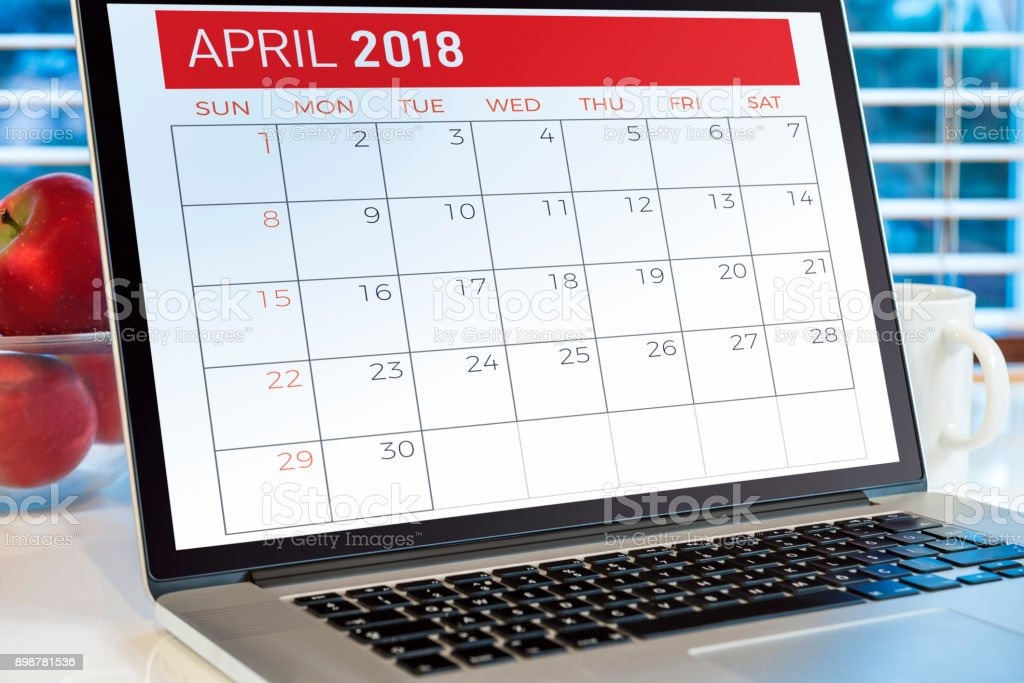 Calendar on computer screen stock photo