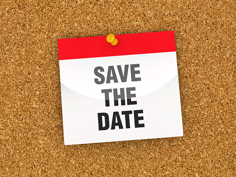 SAVE THE DATE Calendar on Corkboard - 3D Rendering