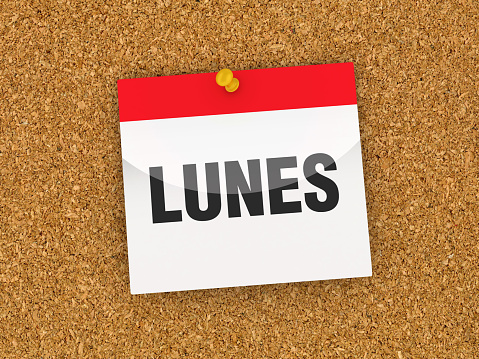 LUNES Calendar on Corkboard - Spanish Word - 3D Rendering