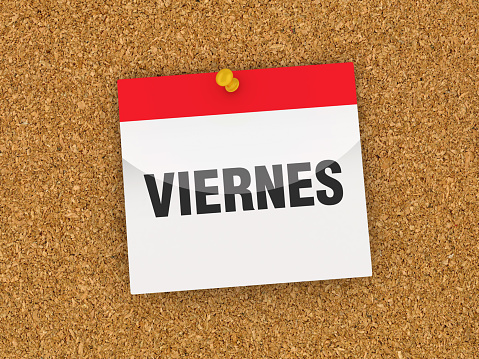 VIERNES Calendar on Corkboard - Spanish Word - 3D Rendering