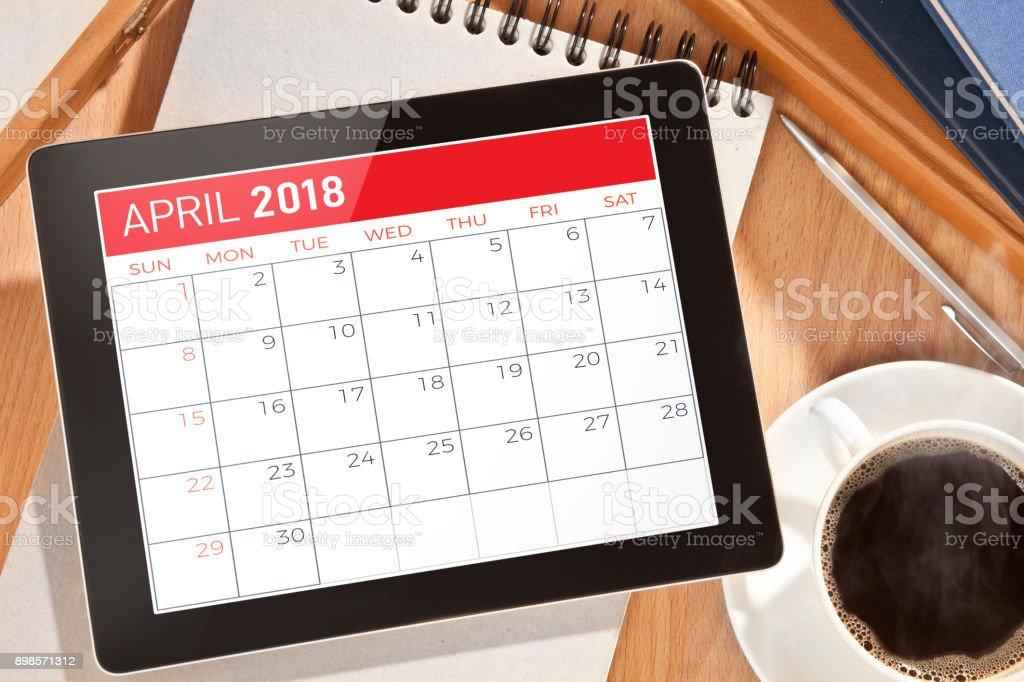 Calendario de la tableta Digital - foto de stock