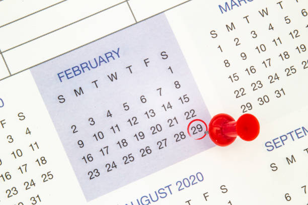 A calendar on February 29 on a leap year, leap day A calendar on February 29 on a leap year, leap day day stock pictures, royalty-free photos & images