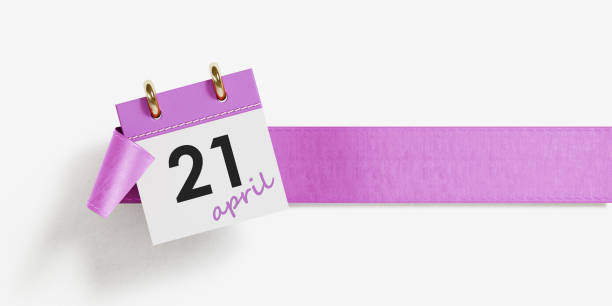 kalender auf lila band over white background - kalender icon stock-fotos und bilder