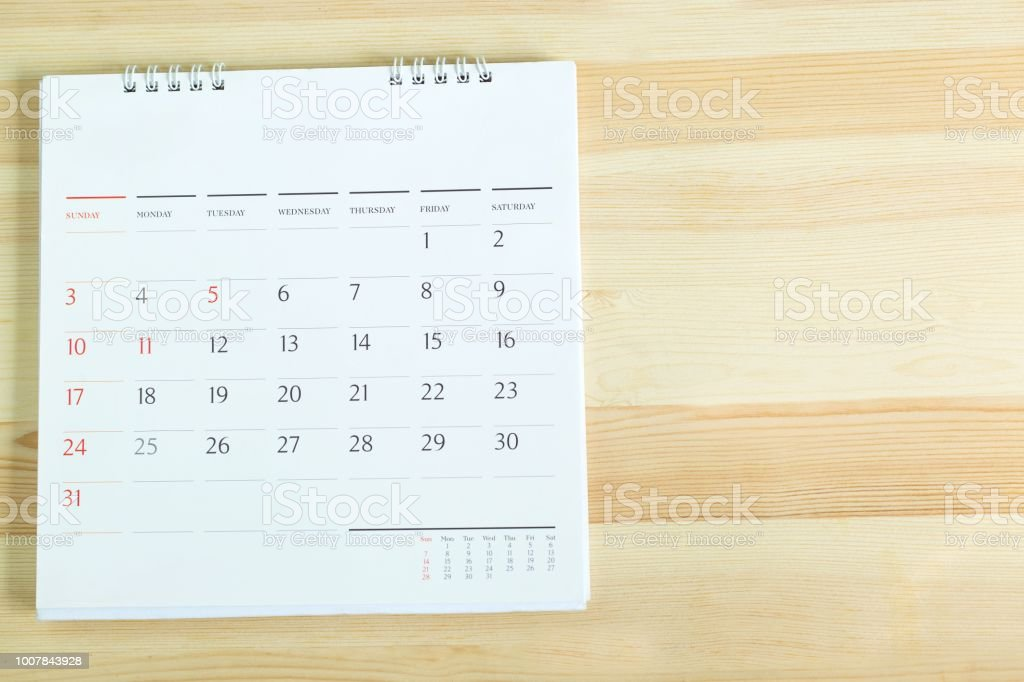 calendar on the table wooden. stock photo