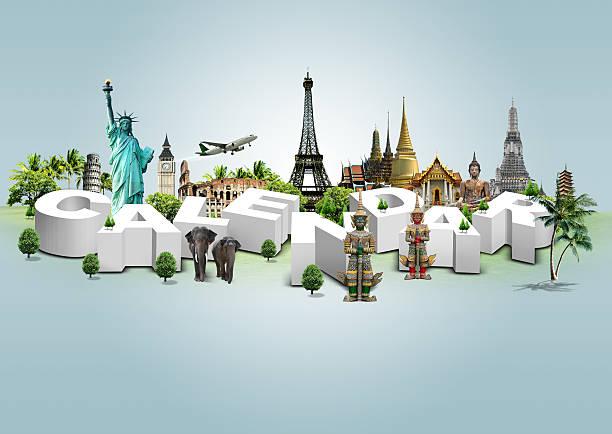 Kalender auf Reisen Hintergrund, concept – Foto