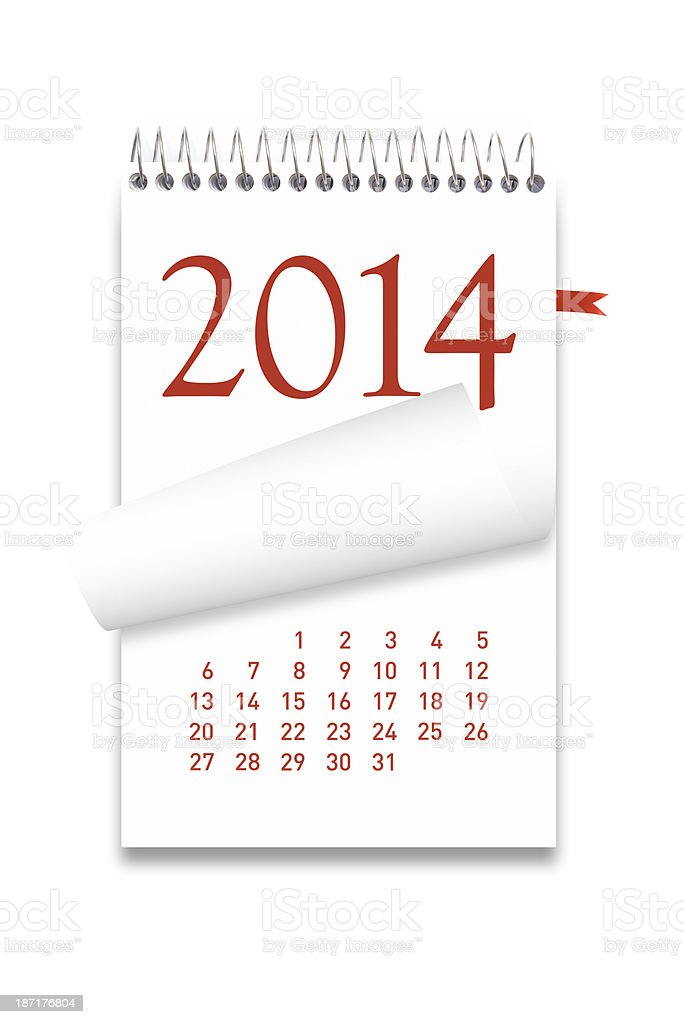 2014 Calendar on white background royalty-free stock photo