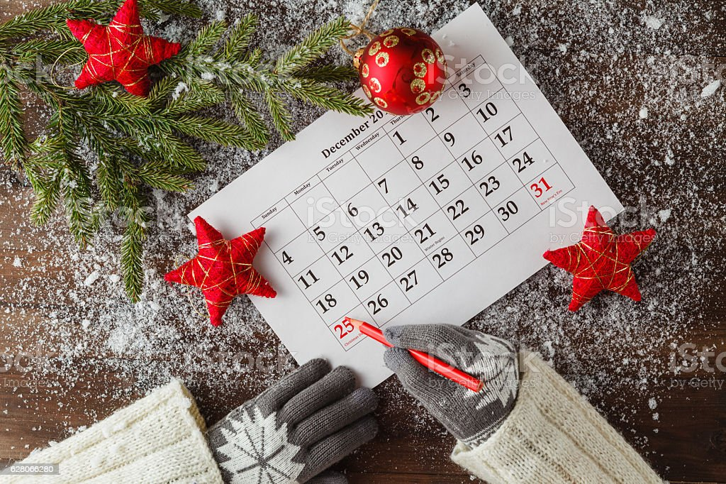 calendar or christmas day with note text of holiday ,concept – Foto