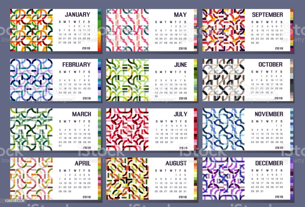 2019 calendar organizer abstraction colorfull week set year stock photo