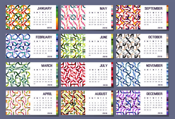 2019 calendar organizer abstraction colorfull week set year stock photo