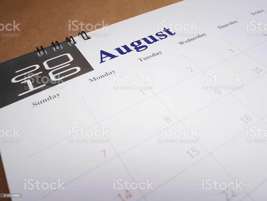Calendar page 8 stock photo