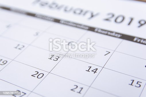 1073023470 istock photo Calendar page February 2019 background 1095281102