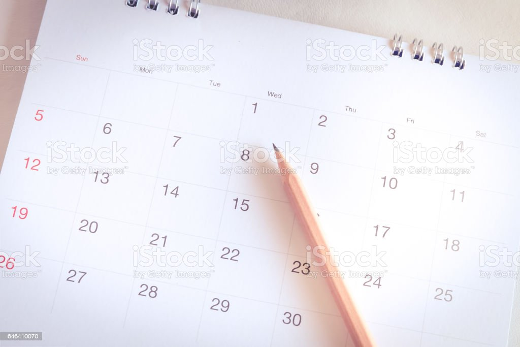 Calendar page in planning concept
