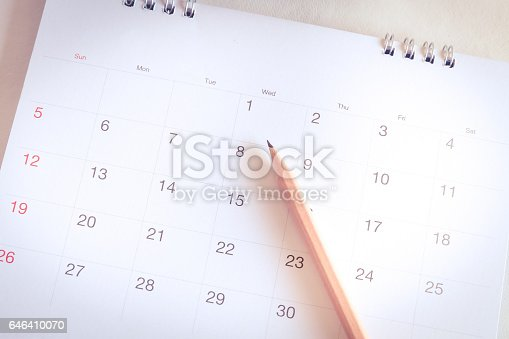 istock Calendar page in planning concept 646410070