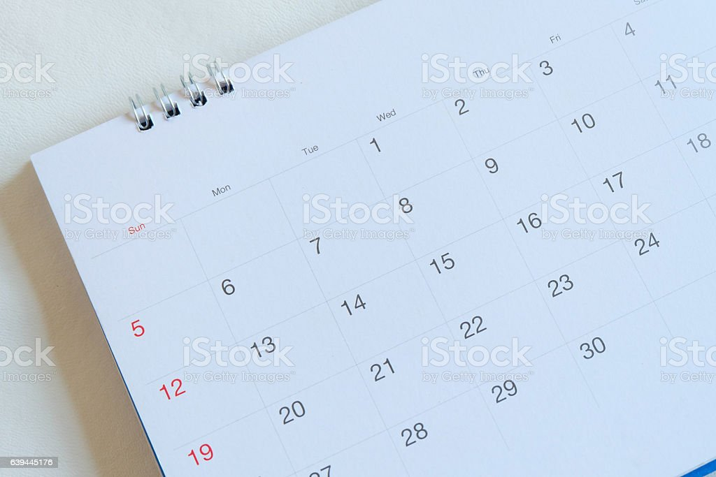 calendar page in white tone. stock photo
