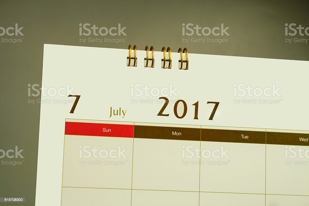Calendar page of month 2016 stock photo