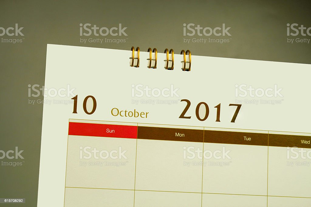 Calendar page of month 2017 stock photo