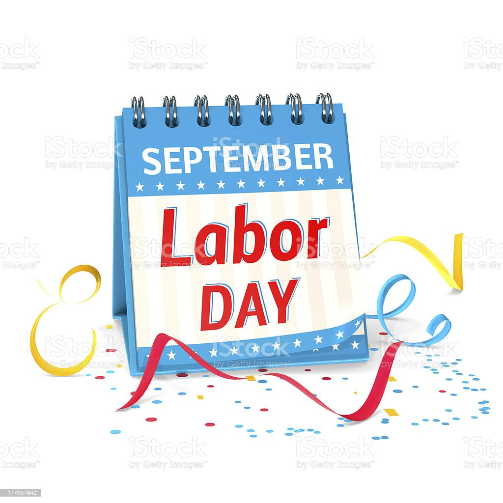 Calendar page showing Labor Day in September with confetti royalty-free stock photo
