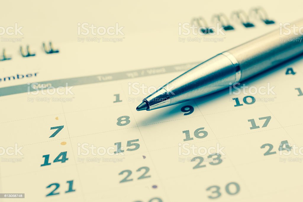 calendar page with selected 8 of december, stock photo