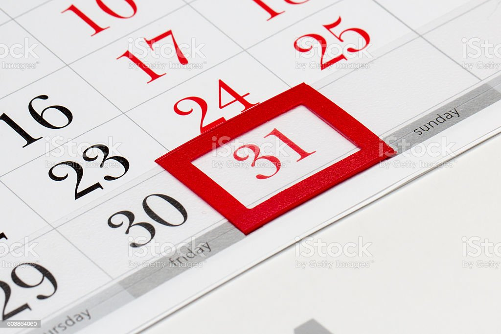 Calendar page with selected l31 of December, 2016 stock photo