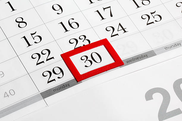 calendar page with selected last date of month - number 30 stock photos and pictures