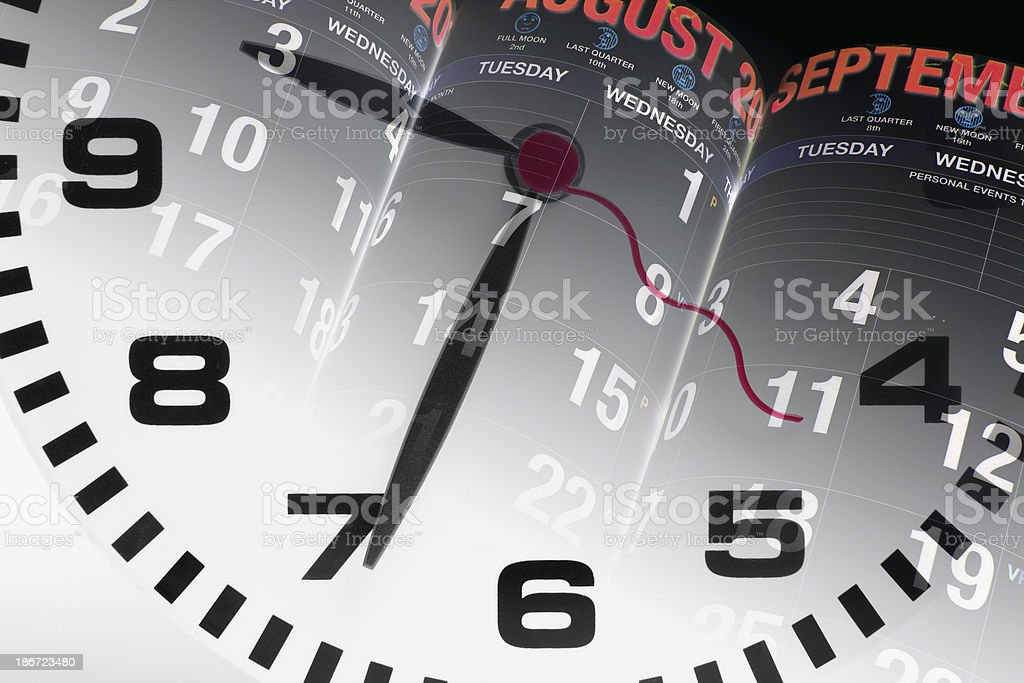 Calendar Pages and Clock royalty-free stock photo