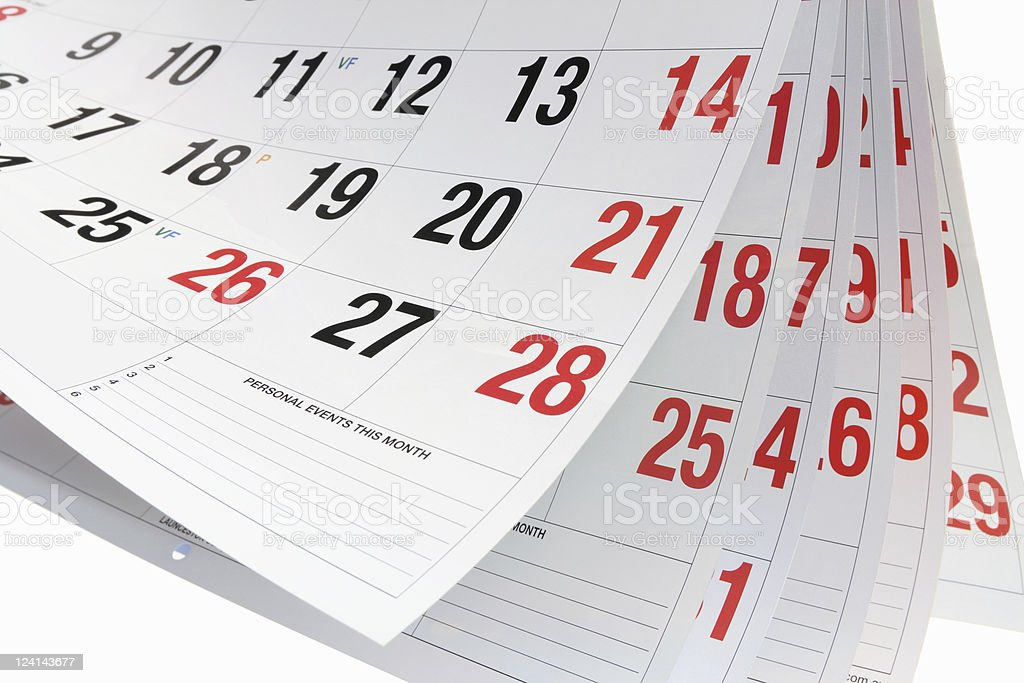 Calendar Pages stock photo
