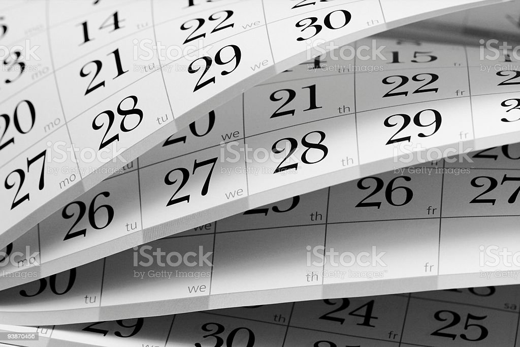Calendar pages showing end of month royalty-free stock photo