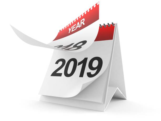 2019 Calendar 2019 Calendar isolated on white background. 3d illustration 2019 stock pictures, royalty-free photos & images