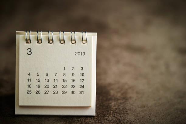 2019 kalender - maart stockfoto's en -beelden