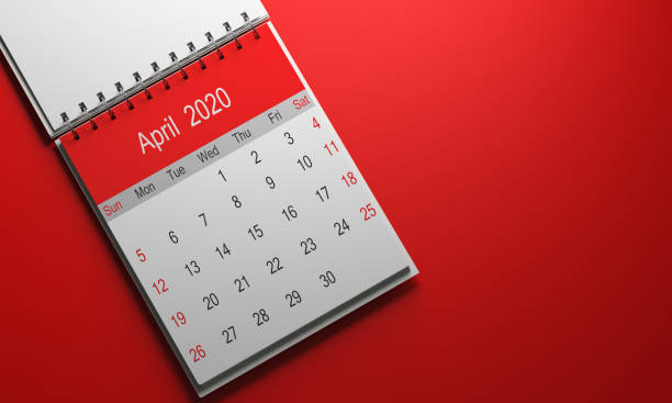 2020 Calendar 2020 calendar with red cap taken from a well-lit good pain 3d render on red gradient backdrop April stock pictures, royalty-free photos & images