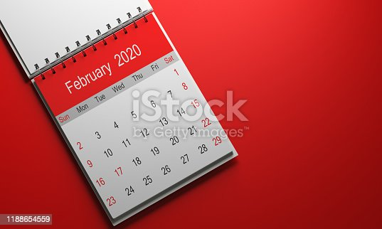 2020 calendar with red cap taken from a well-lit good pain 3d render on red gradient backdrop