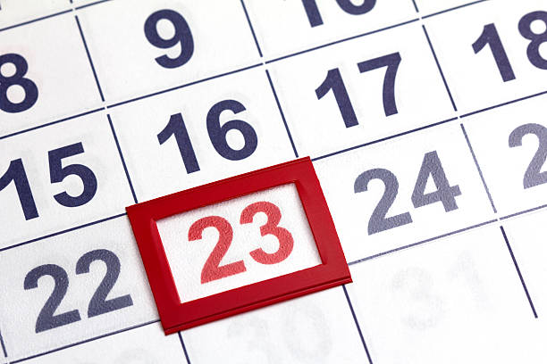 calendar - number 23 stock photos and pictures