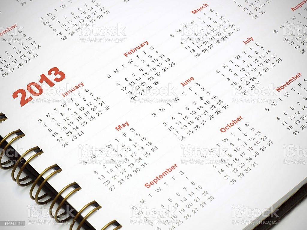 2013 calendar royalty-free stock photo