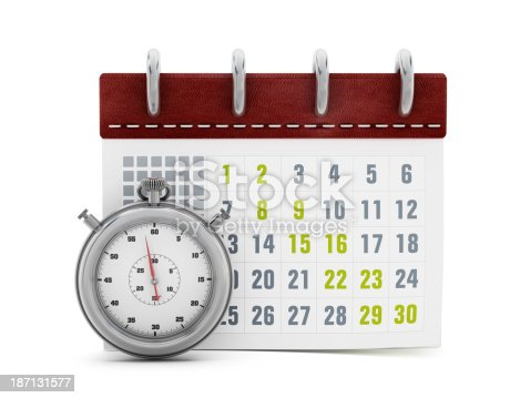 Generic calendar and stopwatch isolated on white.