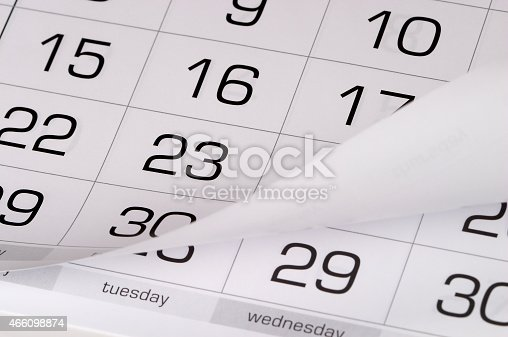 Calendar fragment perspective shot with partial blurred areas