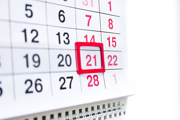 calendar - number 21 stock photos and pictures