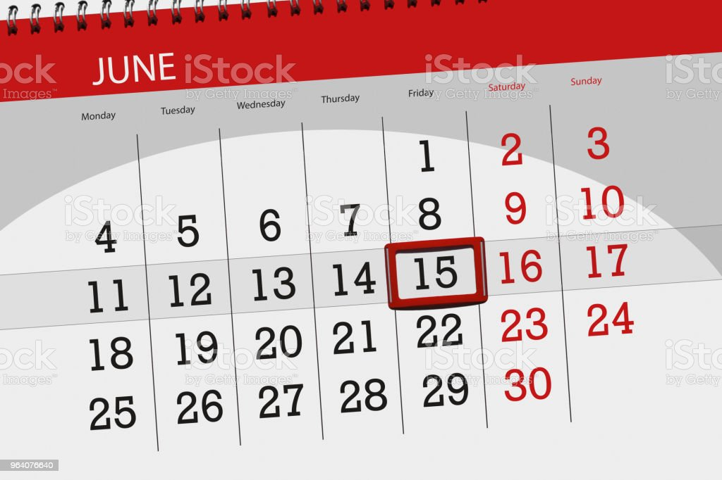 Calendar planner for the month, deadline day of the week, friday, 2018 june 15 - Royalty-free 2018 Stock Photo