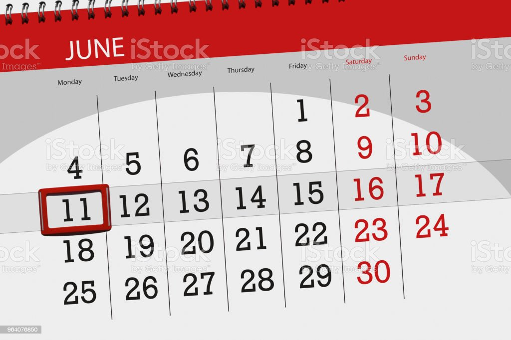 Calendar planner for the month, deadline day of the week, monday, 2018 june 11 - Royalty-free 2018 Stock Photo