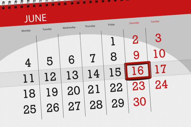 calendar planner for the month, deadline day of the week, saturday, 2018 june 16 - number 16 stock photos and pictures