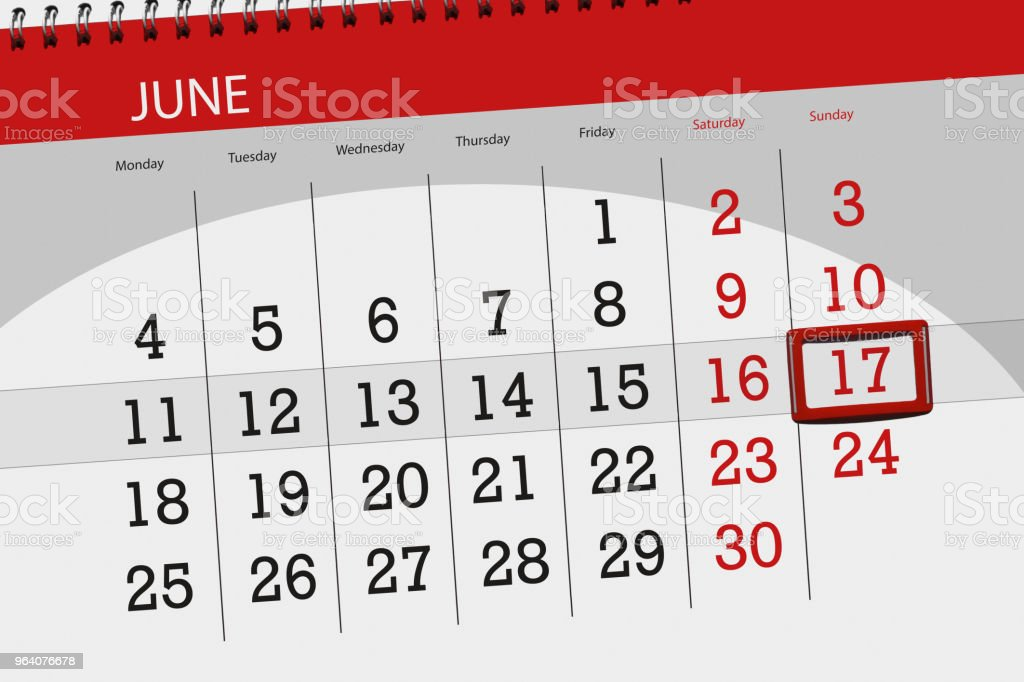 Calendar planner for the month, deadline day of the week, sunday, 2018 june 17 - Royalty-free 2018 Stock Photo