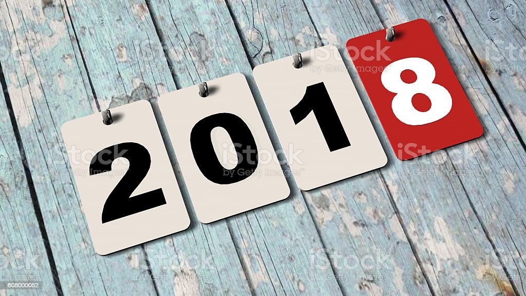 2018 calendar plates on wooden wall -  new year 2018 – Foto