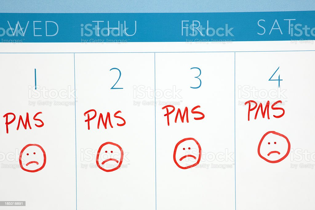 Calendar: PMS or Menstruation Cycle stock photo