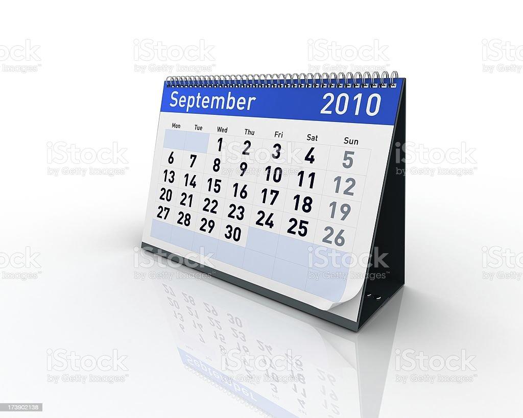 Calendar - September 2010 royalty-free stock photo