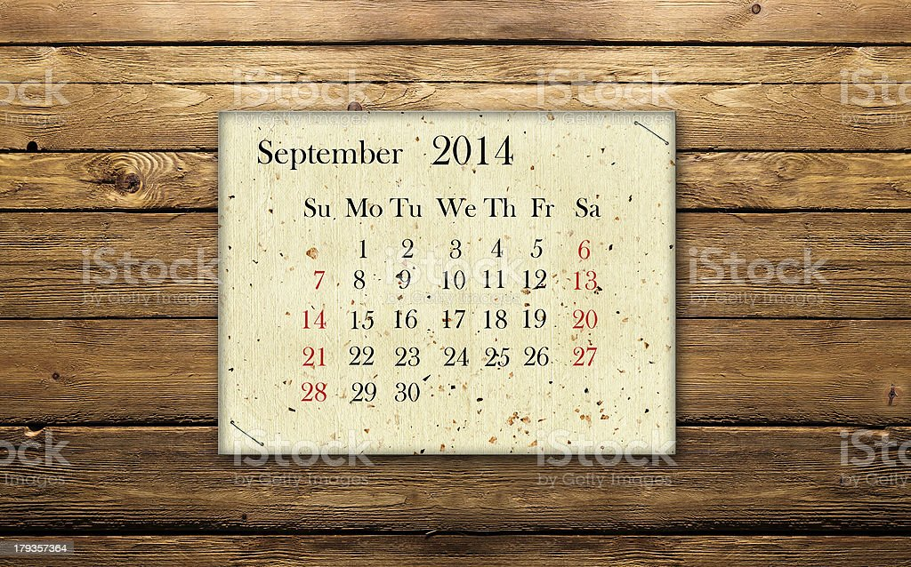 Calendar September 2014 stock photo