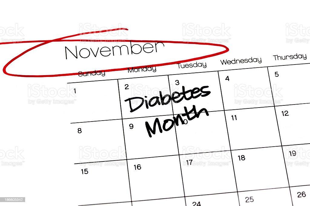 Calendar Series Diabetes Month stock photo